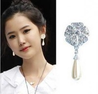 E106 water  drop pearl stud earring rose gold earrings free shipping (Min order $ 10 mixed order)