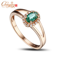 Promotion 4x6mm Colombian Emerald Pave Full Cut Diamond Engagement Ring 14k Gold