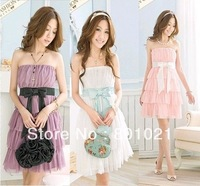 Free shipping Ruili 2013 Fashion Charm Cake Laminated Tube Dress Chiffon Ribbon Dress A151