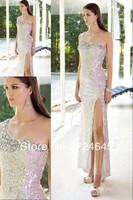 New Arrivlal 2013 Long Baby Pink  Chiffon Sheath One Shoulder Beaded  Elegant   Cheap Simple Ruffles Evening Dress Prom Dresses