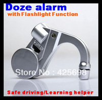 2pcs/lot! Silver Doze alarm Anti Sleep Sound Alarm Nap Zapper for car drivers or students with flashlight function Free shipping