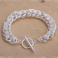 Fashion link bracelet in sterling silver 925 plated, free shipping (min-order $10) / CLB079
