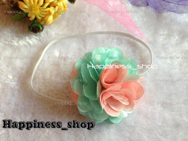 "Hair accessory Wholesale 20pcs 3"" Koear Chiffon Satin Flowers with elastic skinny headbands for Baby Girls hairbands 9color(China (Mainland))"