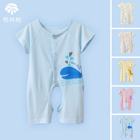 Green 100% cotton baby clothes baby summer open-crotch short-sleeve bodysuit romper sleepwear