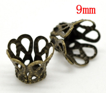 Free Shipping 500Pcs Bronze Tone Basket Shaped Beads Caps 9x7mm/fashion accessory jewelry DIY(W02926)