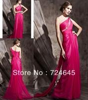 New Arrivlal 2013 Long Red  30D Chiffon A Line One Shoulder  Beaded  Elegant  Cheap Simple Ruffles Evening Dress Prom Dresses