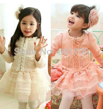Free EMS 5set/lot 2013 Autumn Top Grade Girl Lace Bead Outerwear + Skirt Girls 2pc Dress Set For Kids Children wear