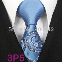 YIBEI Coachella ties SKINNY Tie New Design Powder blue Knot Contrast Black White Paisley Florals Microfiber Necktie SLIM Tie