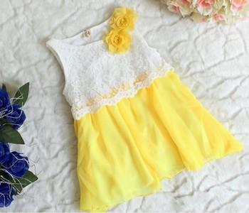 Children's Dresses Girl Dresses Girl Flower Lace Sleeveless Vest Skirt Fashion Gauze Princess Dress
