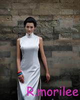 White fashion design sleeveless long cheongsam black paragraph