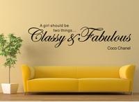 "Wall Sticker ""A Girl Should be Classy & Fabulous Coco Chanel"" Vinyl Wall Art"