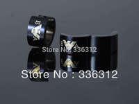 EA0015   unisex Black Stainless Steel Fashionable hoop brand earrings EA studs