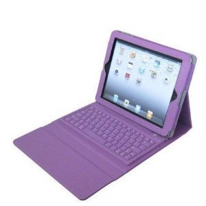 Leather Case Cover with Wireless Bluetooth Keyboard for iPad (Purple/Black)
