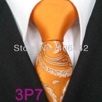 YIBEI Coachella ties SKINNY Tie New Design Orange Knot Contrast Gray Silver Paisley Florals Microfiber Necktie SLIM Tie