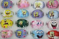 Free shipping Newest Design wholesale mixed lots100pcs cartoon SpongeBob SquarePants Children resin rings r3063