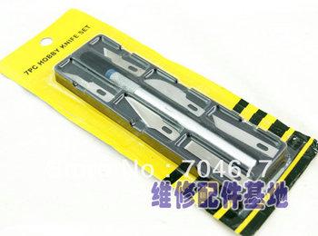 5pcs Wholesale 7pcs in1 set Hobby Knife Set Crafts Scrapbooking Model Carving Tools Kit Carving Knife
