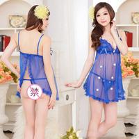 sunflower Blue Color Usuginu Transparent Nightgown Sexy Lingerie with Origin Women's Sexy underwear