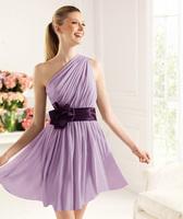 Short design purple single short oblique chiffon formal dress evening dress 2013