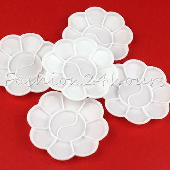 New 10pcs/pack White Nail Art Palette Flower Design For Painting Drawing Paletee Art