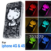 1PCS/lot Cute Hello Kitty LED Case Cover For iPhone 4 4S Flash light Colors Change Twink + Free shipping