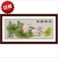 Ribbon embroidery paintings lotus leaf yaju print cross stitch