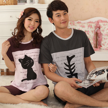 2013 summer cotton cat fish short-sleeve lovers sleepwear cartoon male sleepwear lounge