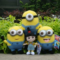 "4Pcs Despicable Me Plush Toy 3 Minions 9"" & Agnes 7"" Cuddly Stuffed Animal Doll"