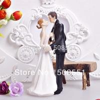 "Free shipping 8*6.5*15cm ""Kiss Me"" Bride & Groom Wedding Cake Topper Resin Cake Toppers Wedding"