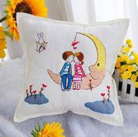 Ribbon embroidery pillow case car pillow ribbon cross stitch child pillow