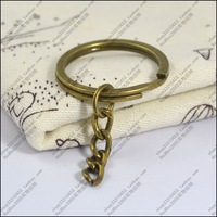 50pcs/lot 28mm vintage copper keychain key ring extend chain