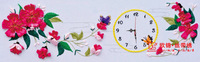 Beautiful ribbon embroidery paintings clock wall clock ribbon cross stitch ceremonized elixir of love