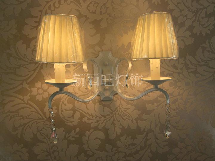 vintage doppio basi lampada da parete paralume in tessuto applique da ...