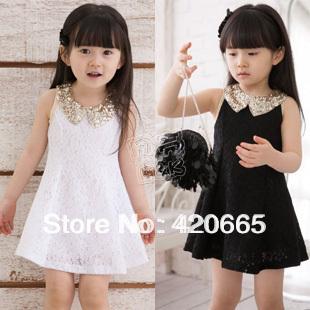 2013 summer lace girls dresses Children's clothing kids sleeveless tank dress Free shipping