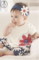 3 2013 New arrival Baby suit Girl's summer clothing sets kids wear : hair band + flowers short sleeve + pants