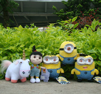 "5Pcs Despicable Me Plush Toy 3D Eyes Minions 6"" & Agnes & Unicorn Cuddly Doll"