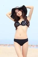 High waist alluring sexy black polka dot pattern bikinis swimsuit,bathing suit for woman,trikini fringe xl three-piece new!