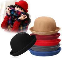 Vintage Women Men Woolen Roll Brim Bowler Hats Unisex Billycock Classic  NI5L