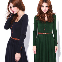 2013 spring vintage basic knitted one-piece dress full dress plus size one-piece dress