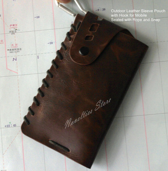 New Arrival HIgh Quality Outdoor Leather Sleeve Pouch Bag Case for Mobile with Hook, Sealed with Rope and Snap, 2 Color, 1pc/lot