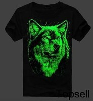 2013 Luminous t-shirt Men 3D wolf loose short sleeve o-neck t shirt top M/L/XL/XXL 100% cotton Freeshipping