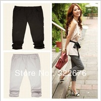 2013 Free Shipping Women's Bow Decorated Pleated Seven-Inch Slim Stretchable Cotton Pants Light Grey/Black NX12041328-2