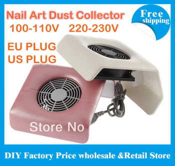 Free shipping 220V-230V or 100-110v with EU/US plug Nail Art Dust Suction Collector Manicure Filing Acrylic UV Gel Tip Machine