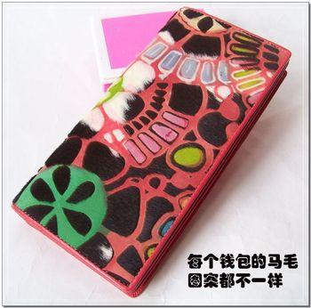 Flower fur red long design loose-leaf women's genuine leather wallet meisslie 9012036