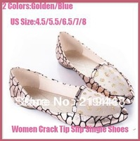2013 European origina exquisite beads burst crack tip slip comfort women's  single shoes gold and blue free shipping