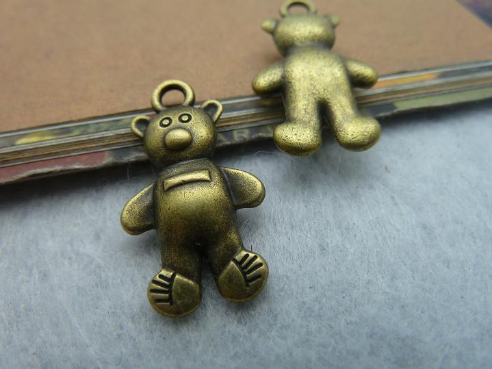 10pcs 14x26mm Antique Bronze Lovely 3d Heavy Cubs Bear Charms Pendant c2210(China (Mainland))