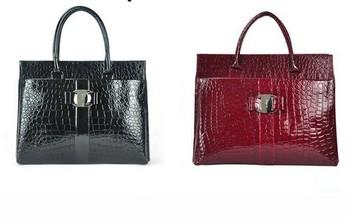 Free Shipping (1 pcs) 2012 Hot selling Luxury OL Lady Women Crocodile Pattern Handbag Tote popular leather Bag