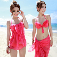 Neon red sexy bikini ultralarge mantillas three piece set retro swimwear women steel push up big small