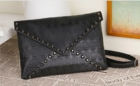 ZH0324 women handbag punk packet black skeleton purse envelope street tide women's one shoulder handbag