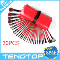 Professional High Quality 30 Pcs Red Makeup Brush set Kit Cosmetic Brushes Free Shipping