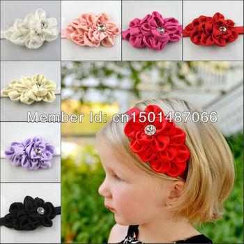 New Style infant satin Headband hairband Baby Girls flowers headbands kids' hair accessories Baby Christmas gift